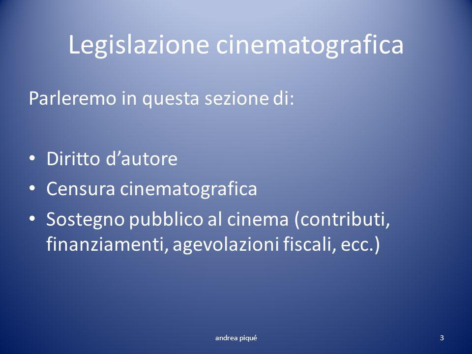 Legislazione cinematografica andrea piqué Parleremo in questa sezione di: Diritto dautore Censura cinematografica Sostegno pubblico al cinema (contrib