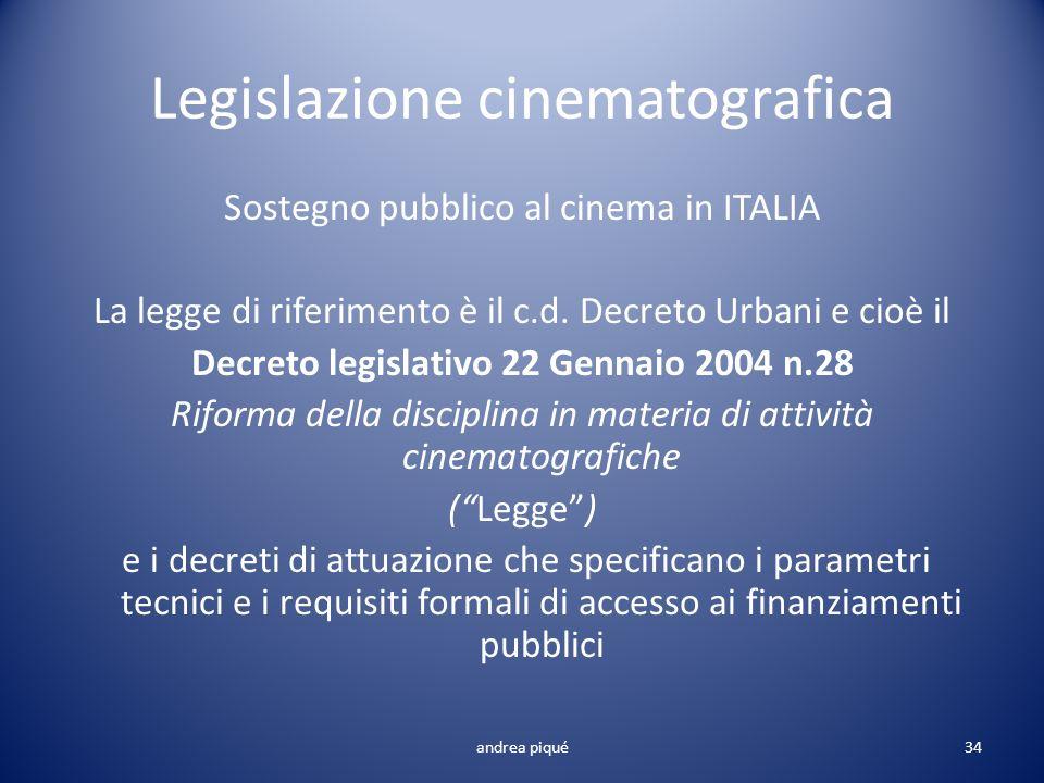Legislazione cinematografica Sostegno pubblico al cinema in ITALIA La legge di riferimento è il c.d. Decreto Urbani e cioè il Decreto legislativo 22 G
