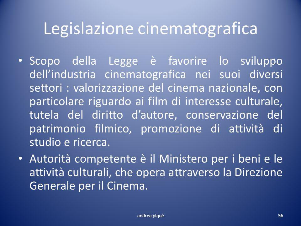 Legislazione cinematografica Scopo della Legge è favorire lo sviluppo dellindustria cinematografica nei suoi diversi settori : valorizzazione del cine