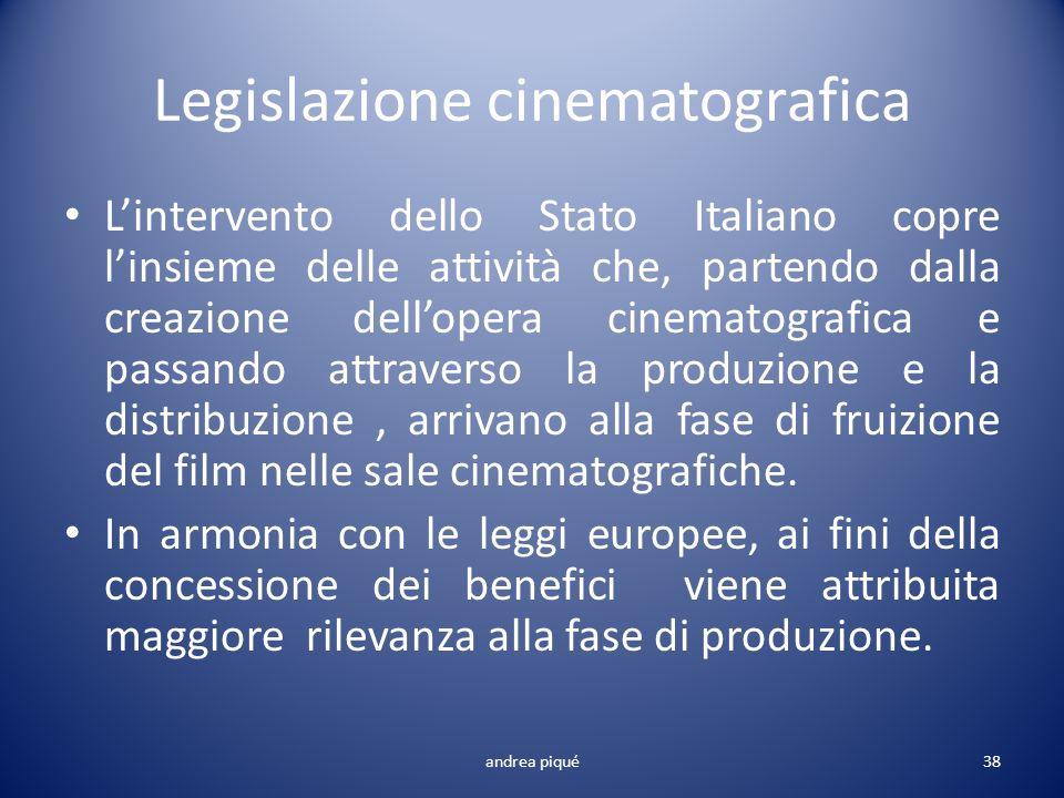 Legislazione cinematografica Lintervento dello Stato Italiano copre linsieme delle attività che, partendo dalla creazione dellopera cinematografica e