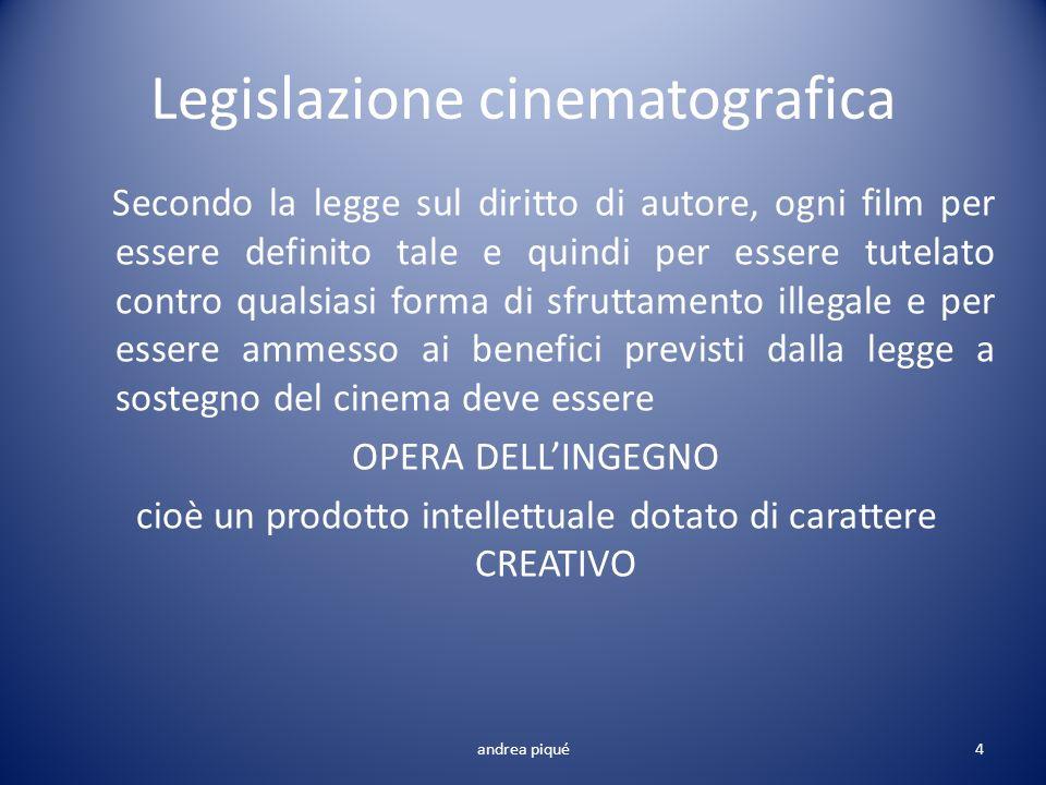 Legislazione cinematografica Secondo la legge sul diritto di autore, ogni film per essere definito tale e quindi per essere tutelato contro qualsiasi