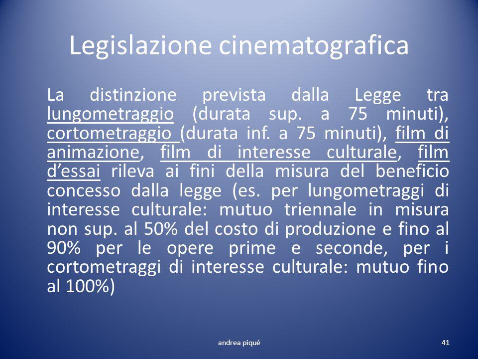 Legislazione cinematografica La distinzione prevista dalla Legge tra lungometraggio (durata sup. a 75 minuti), cortometraggio (durata inf. a 75 minuti