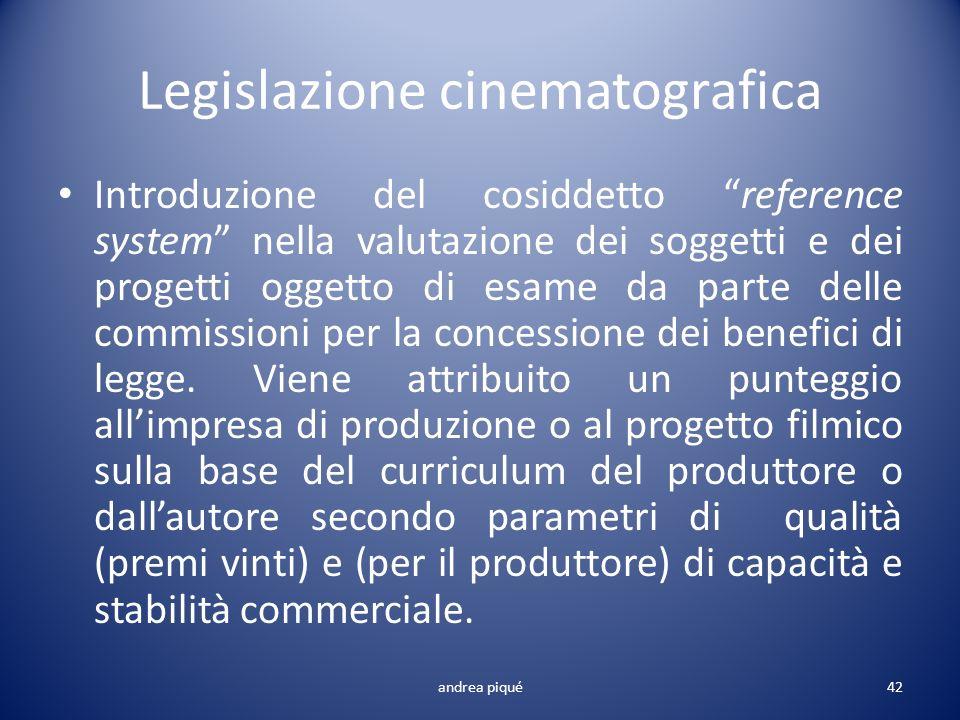 Legislazione cinematografica Introduzione del cosiddetto reference system nella valutazione dei soggetti e dei progetti oggetto di esame da parte dell