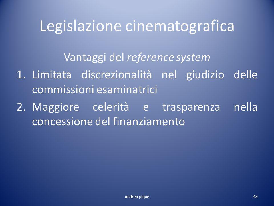 Legislazione cinematografica Vantaggi del reference system 1.Limitata discrezionalità nel giudizio delle commissioni esaminatrici 2.Maggiore celerità