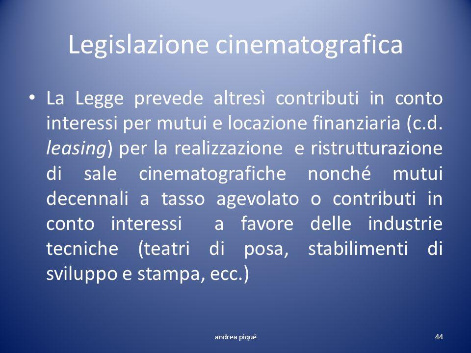 Legislazione cinematografica La Legge prevede altresì contributi in conto interessi per mutui e locazione finanziaria (c.d. leasing) per la realizzazi
