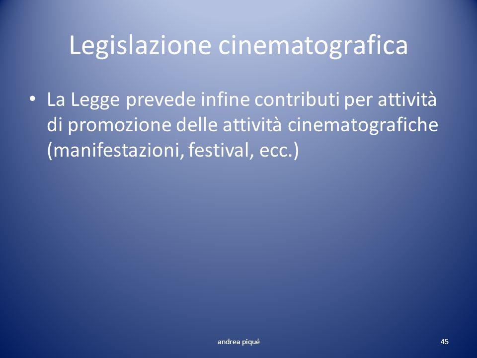 Legislazione cinematografica La Legge prevede infine contributi per attività di promozione delle attività cinematografiche (manifestazioni, festival,