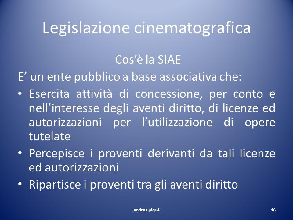 Legislazione cinematografica andrea piqué46 Cosè la SIAE E un ente pubblico a base associativa che: Esercita attività di concessione, per conto e nell