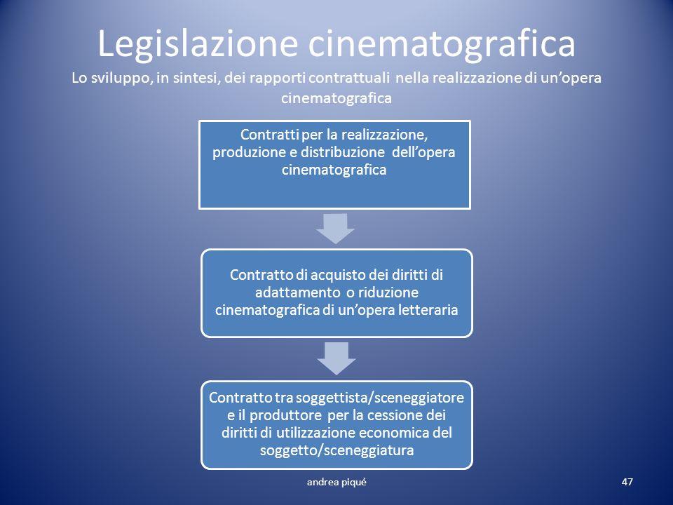 Legislazione cinematografica Lo sviluppo, in sintesi, dei rapporti contrattuali nella realizzazione di unopera cinematografica Contratti per la realiz