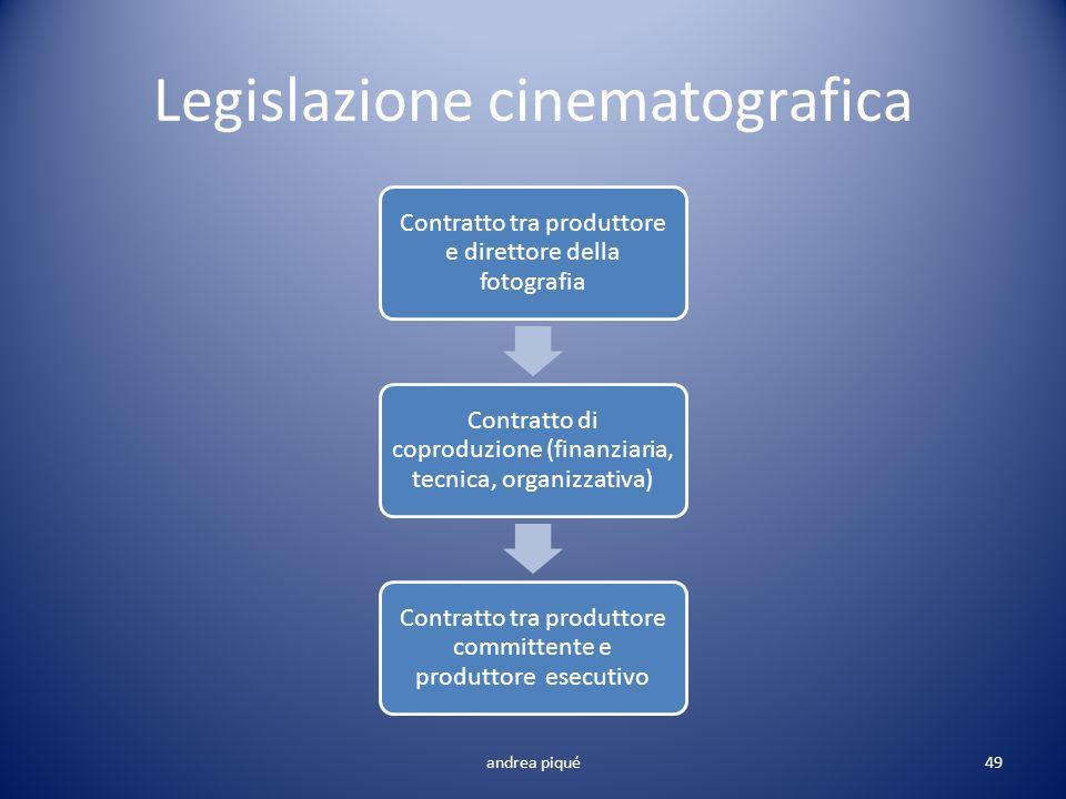Legislazione cinematografica Contratto tra produttore e direttore della fotografia Contratto di coproduzione (finanziaria, tecnica, organizzativa) Con