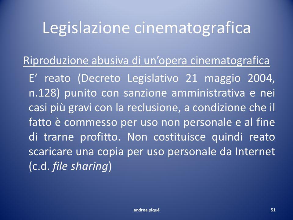 Legislazione cinematografica Riproduzione abusiva di unopera cinematografica E reato (Decreto Legislativo 21 maggio 2004, n.128) punito con sanzione a