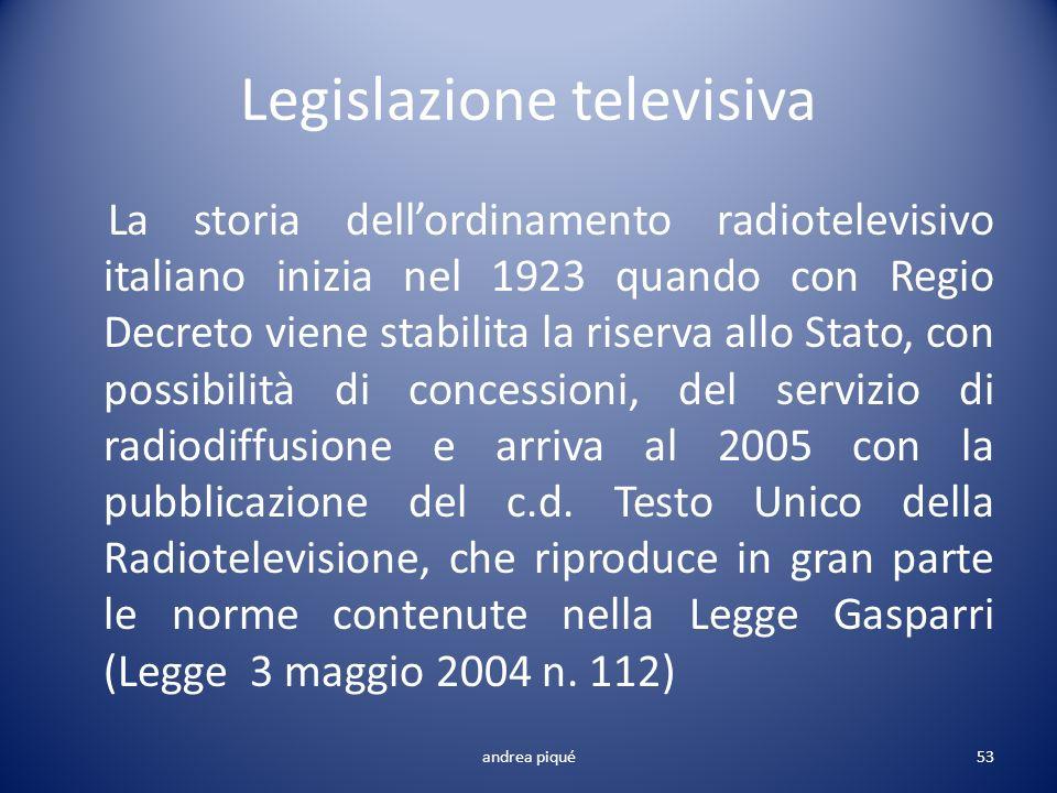 Legislazione televisiva La storia dellordinamento radiotelevisivo italiano inizia nel 1923 quando con Regio Decreto viene stabilita la riserva allo St