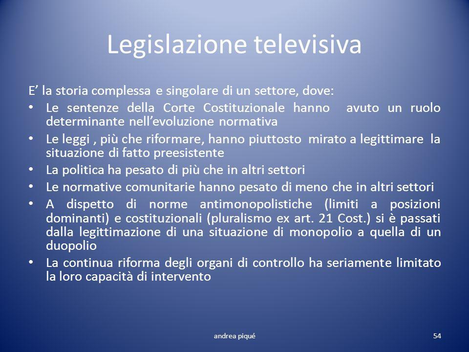 Legislazione televisiva E la storia complessa e singolare di un settore, dove: Le sentenze della Corte Costituzionale hanno avuto un ruolo determinant