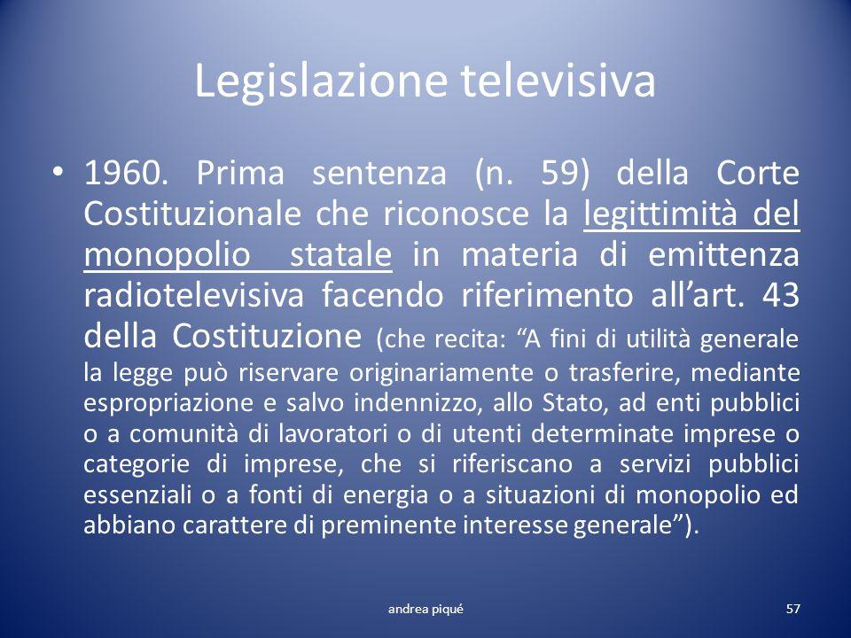 Legislazione televisiva 1960. Prima sentenza (n. 59) della Corte Costituzionale che riconosce la legittimità del monopolio statale in materia di emitt