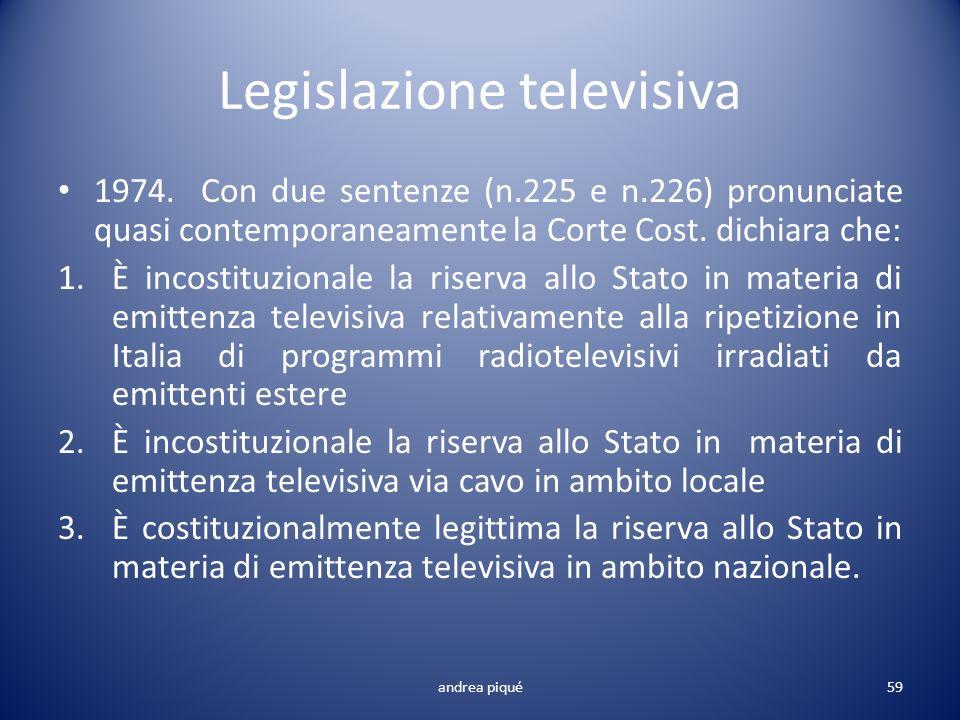 Legislazione televisiva 1974. Con due sentenze (n.225 e n.226) pronunciate quasi contemporaneamente la Corte Cost. dichiara che: 1.È incostituzionale