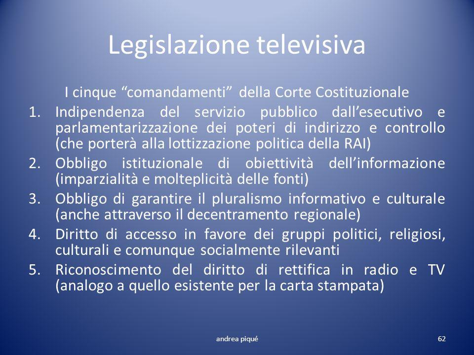 Legislazione televisiva I cinque comandamenti della Corte Costituzionale 1.Indipendenza del servizio pubblico dallesecutivo e parlamentarizzazione dei
