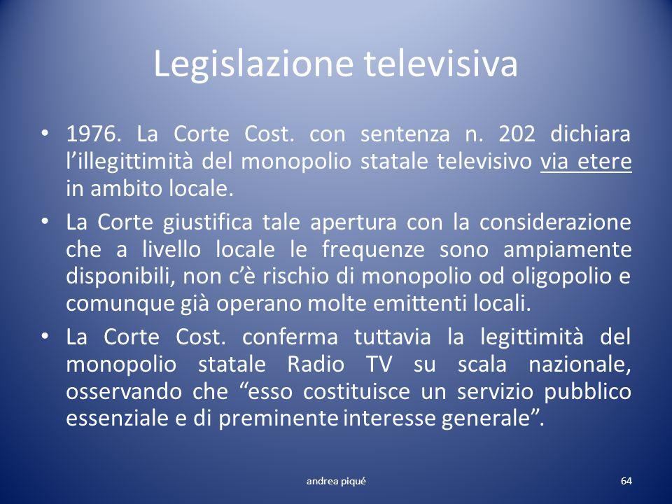 Legislazione televisiva 1976. La Corte Cost. con sentenza n. 202 dichiara lillegittimità del monopolio statale televisivo via etere in ambito locale.