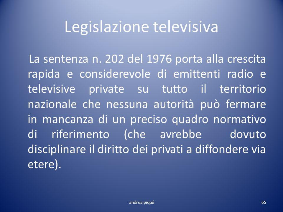 Legislazione televisiva La sentenza n. 202 del 1976 porta alla crescita rapida e considerevole di emittenti radio e televisive private su tutto il ter
