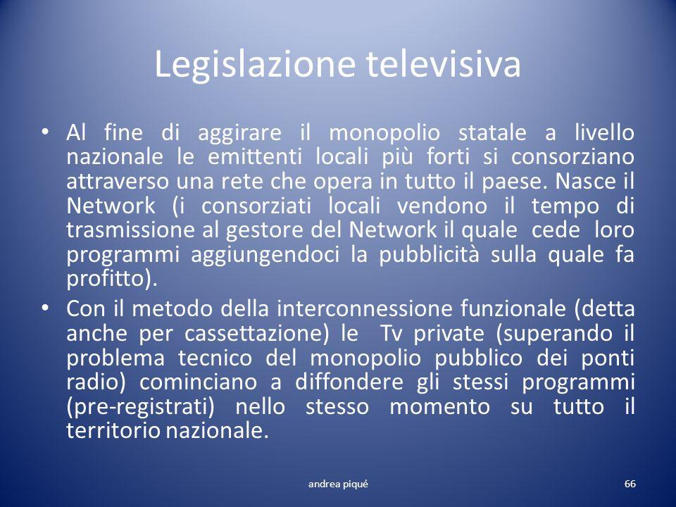 Legislazione televisiva Al fine di aggirare il monopolio statale a livello nazionale le emittenti locali più forti si consorziano attraverso una rete