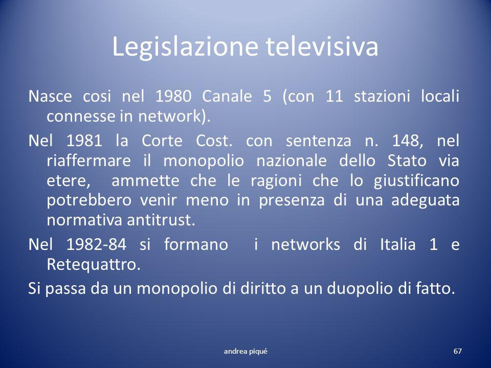 Legislazione televisiva Nasce cosi nel 1980 Canale 5 (con 11 stazioni locali connesse in network). Nel 1981 la Corte Cost. con sentenza n. 148, nel ri