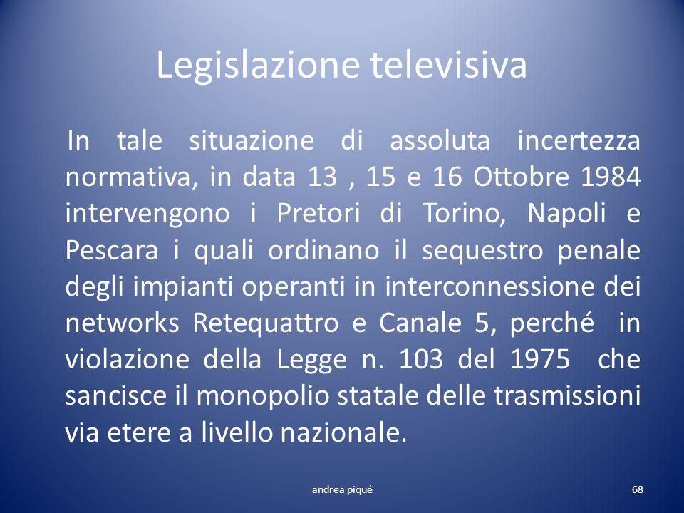 Legislazione televisiva In tale situazione di assoluta incertezza normativa, in data 13, 15 e 16 Ottobre 1984 intervengono i Pretori di Torino, Napoli