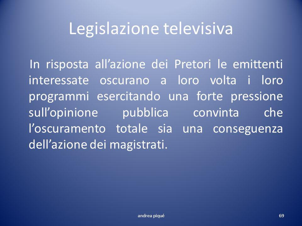 Legislazione televisiva In risposta allazione dei Pretori le emittenti interessate oscurano a loro volta i loro programmi esercitando una forte pressi