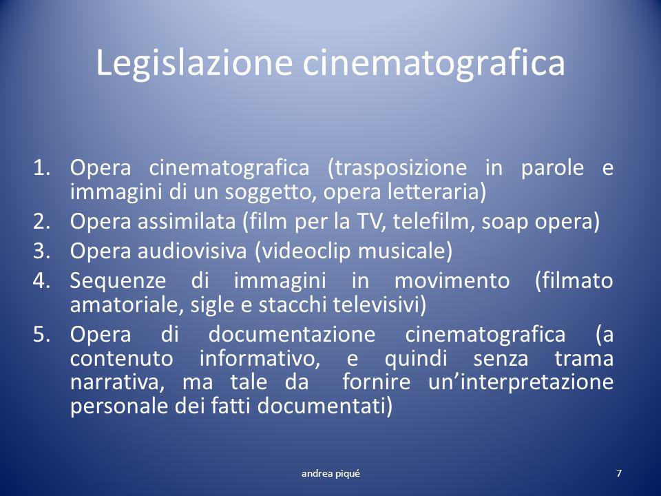 Legislazione cinematografica 1.Opera cinematografica (trasposizione in parole e immagini di un soggetto, opera letteraria) 2.Opera assimilata (film pe