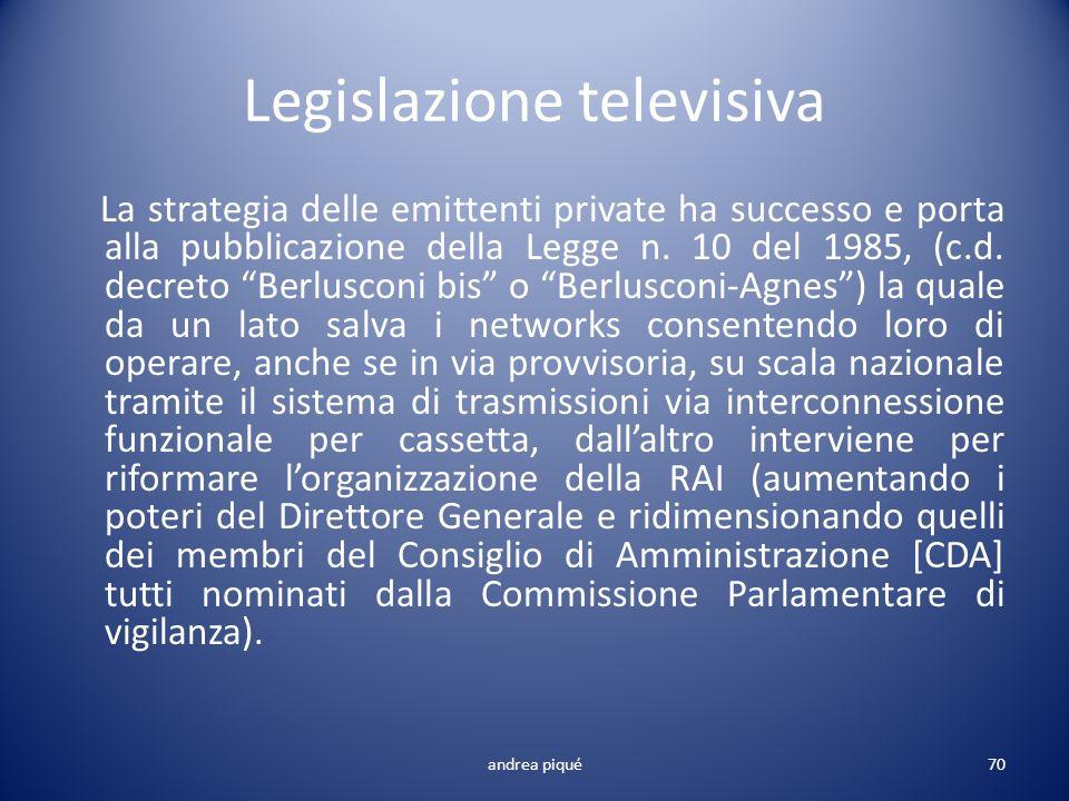 Legislazione televisiva La strategia delle emittenti private ha successo e porta alla pubblicazione della Legge n. 10 del 1985, (c.d. decreto Berlusco