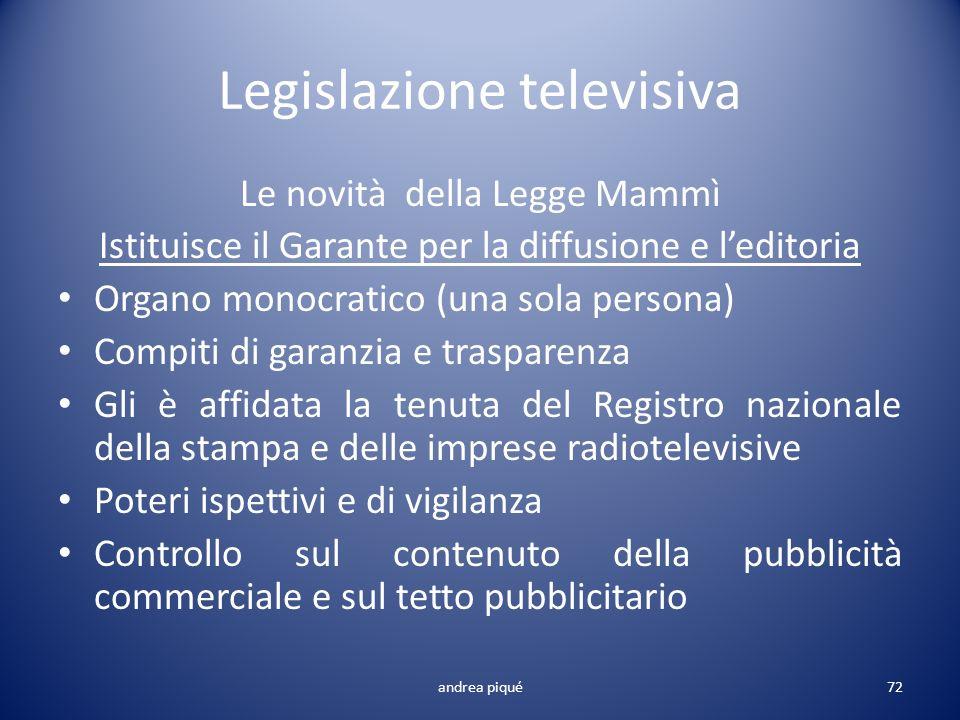 Legislazione televisiva Le novità della Legge Mammì Istituisce il Garante per la diffusione e leditoria Organo monocratico (una sola persona) Compiti