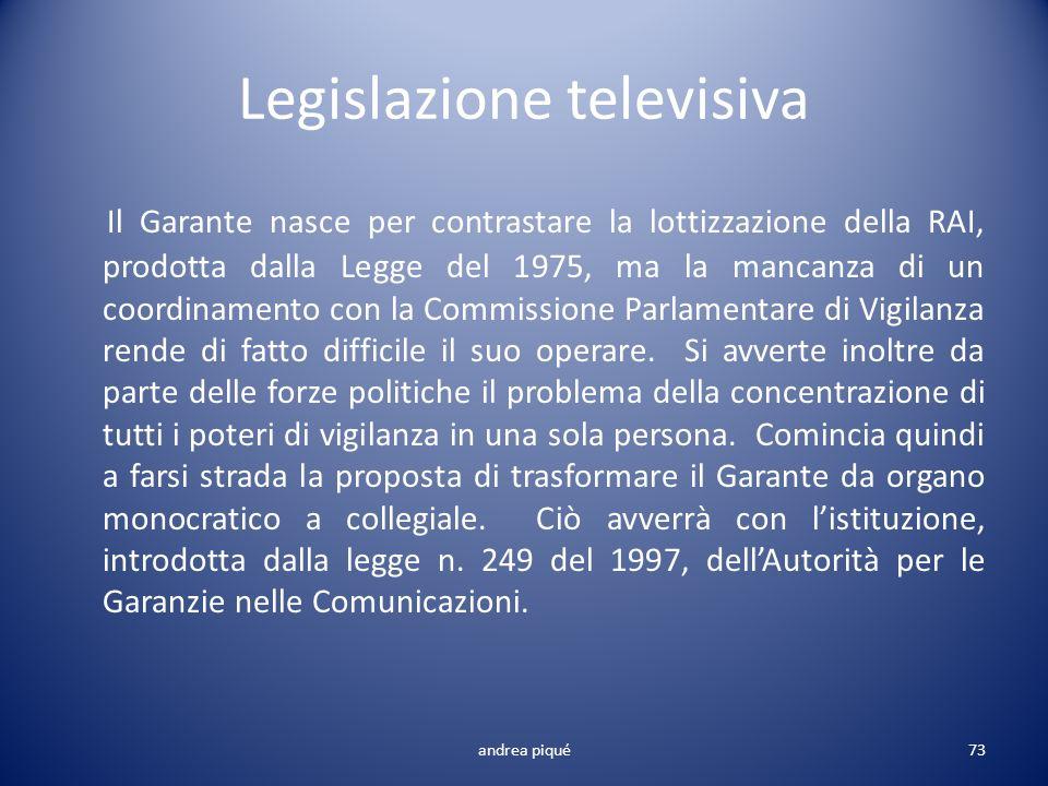 Legislazione televisiva Il Garante nasce per contrastare la lottizzazione della RAI, prodotta dalla Legge del 1975, ma la mancanza di un coordinamento