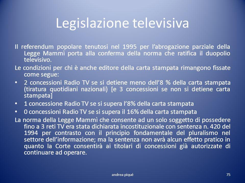 Legislazione televisiva Il referendum popolare tenutosi nel 1995 per labrogazione parziale della Legge Mammì porta alla conferma della norma che ratif