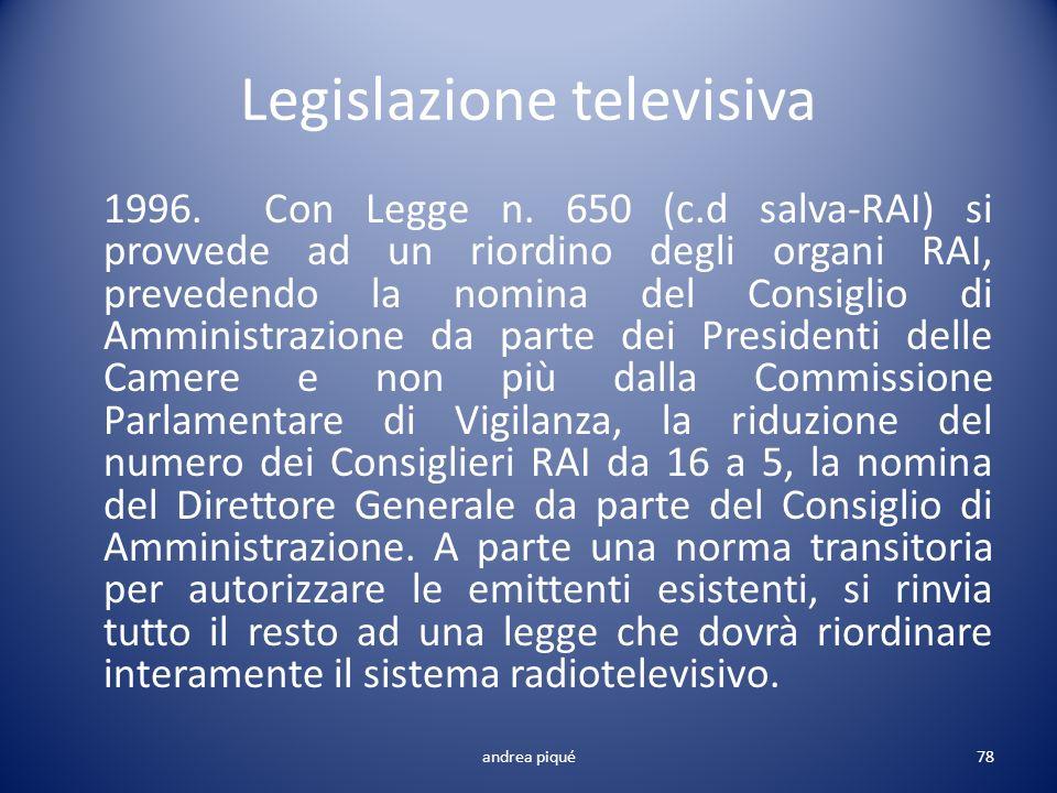 Legislazione televisiva 1996. Con Legge n. 650 (c.d salva-RAI) si provvede ad un riordino degli organi RAI, prevedendo la nomina del Consiglio di Ammi
