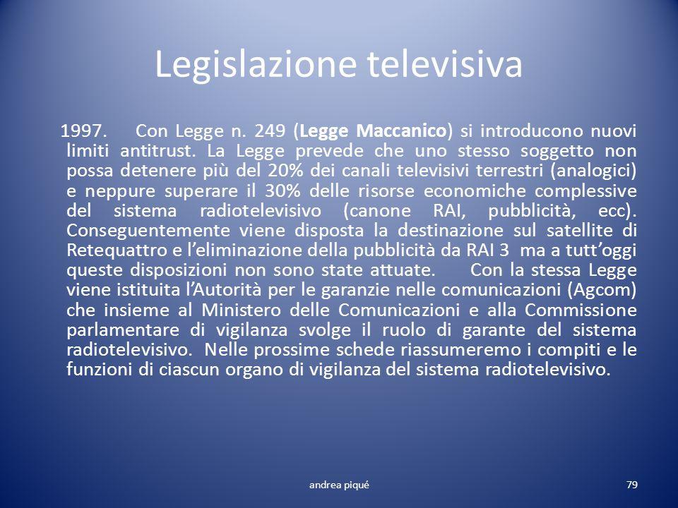 Legislazione televisiva 1997. Con Legge n. 249 (Legge Maccanico) si introducono nuovi limiti antitrust. La Legge prevede che uno stesso soggetto non p