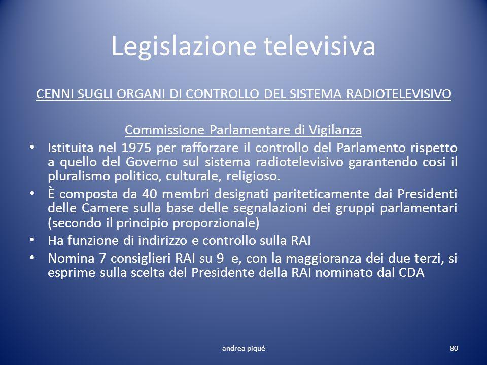Legislazione televisiva CENNI SUGLI ORGANI DI CONTROLLO DEL SISTEMA RADIOTELEVISIVO Commissione Parlamentare di Vigilanza Istituita nel 1975 per raffo