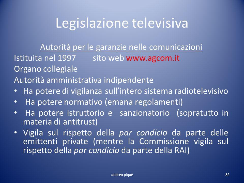 Legislazione televisiva Autorità per le garanzie nelle comunicazioni Istituita nel 1997 sito web www.agcom.it Organo collegiale Autorità amministrativ