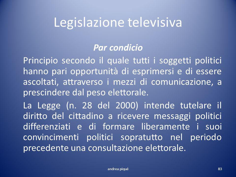 Legislazione televisiva Par condicio Principio secondo il quale tutti i soggetti politici hanno pari opportunità di esprimersi e di essere ascoltati,