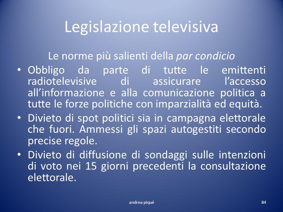 Legislazione televisiva Le norme più salienti della par condicio Obbligo da parte di tutte le emittenti radiotelevisive di assicurare laccesso allinfo