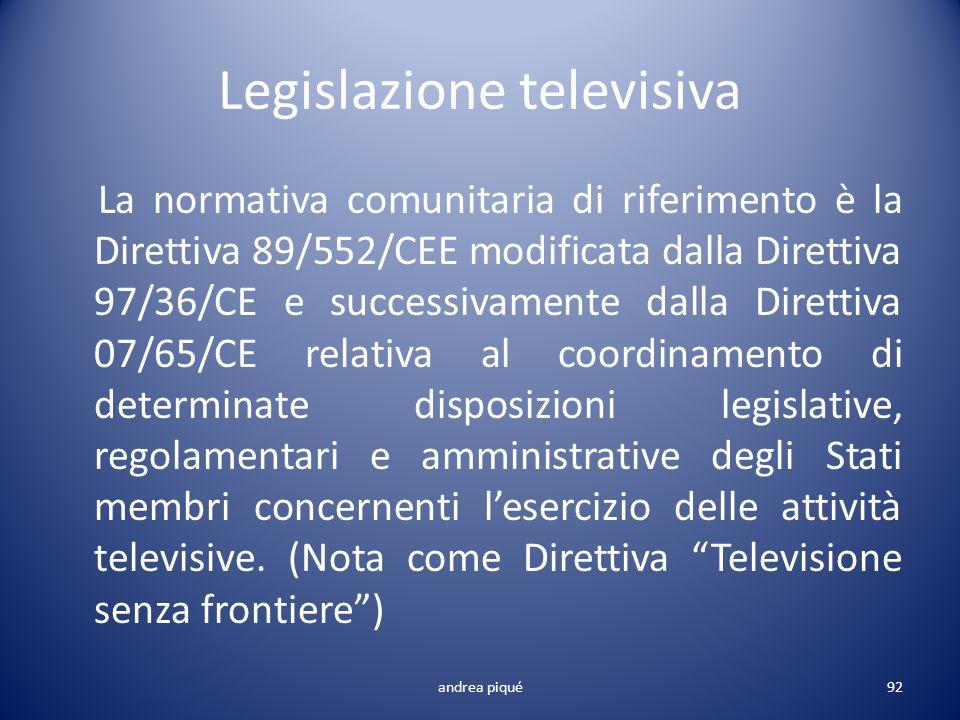 Legislazione televisiva La normativa comunitaria di riferimento è la Direttiva 89/552/CEE modificata dalla Direttiva 97/36/CE e successivamente dalla