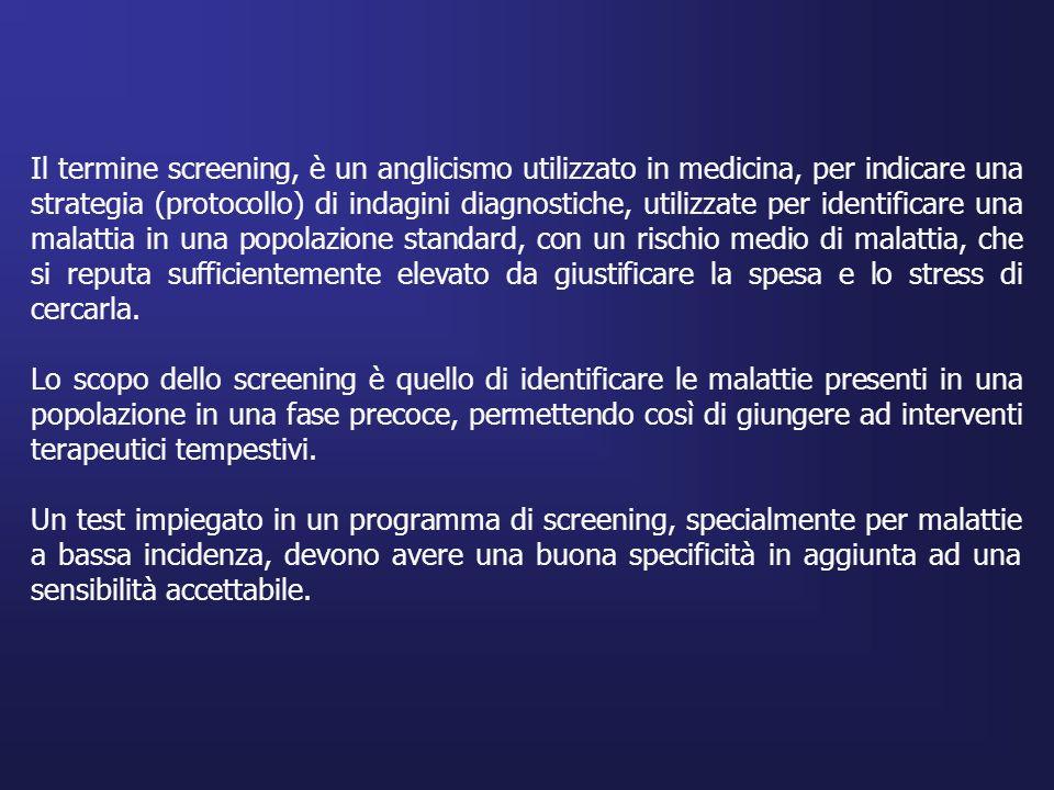 Il termine screening, è un anglicismo utilizzato in medicina, per indicare una strategia (protocollo) di indagini diagnostiche, utilizzate per identif