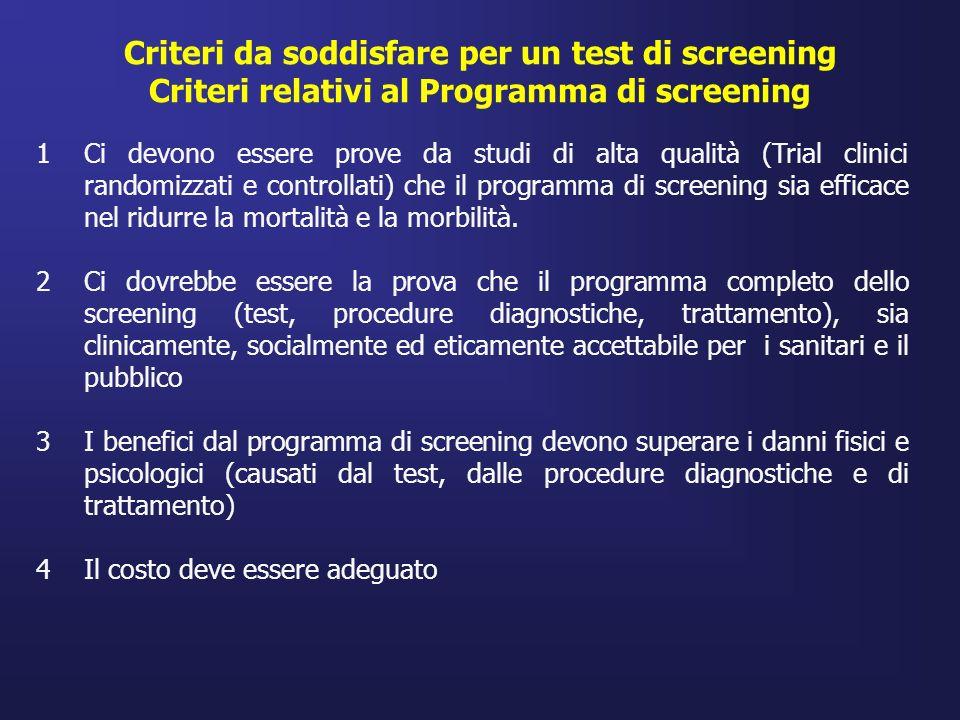 1Ci devono essere prove da studi di alta qualità (Trial clinici randomizzati e controllati) che il programma di screening sia efficace nel ridurre la