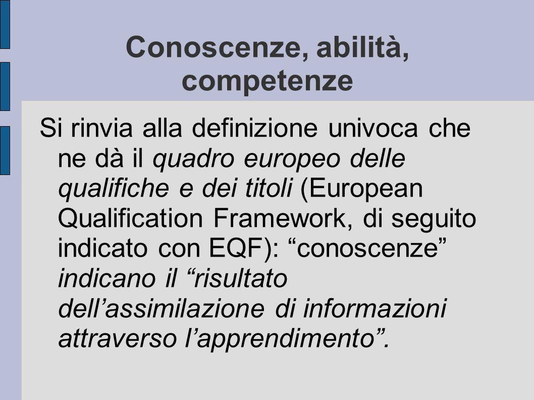 Conoscenze, abilità, competenze Si rinvia alla definizione univoca che ne dà il quadro europeo delle qualifiche e dei titoli (European Qualification Framework, di seguito indicato con EQF): conoscenze indicano il risultato dellassimilazione di informazioni attraverso lapprendimento.