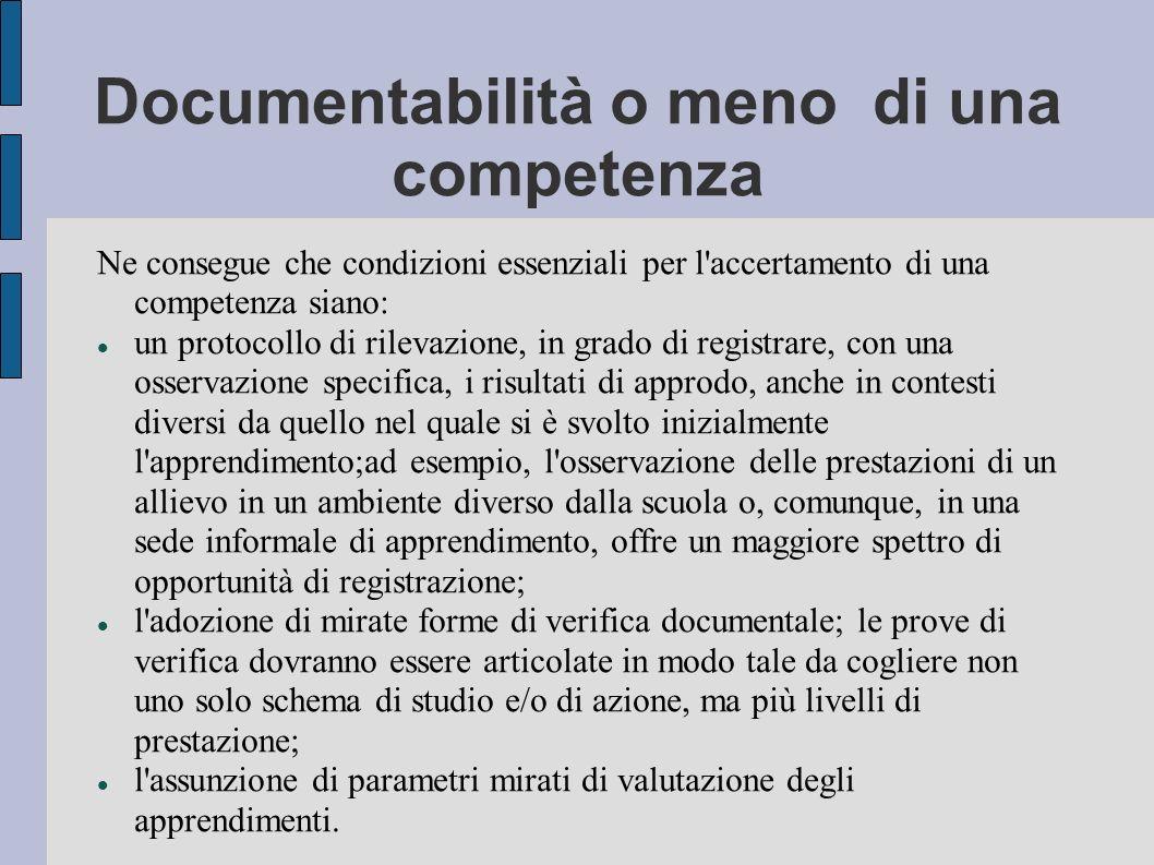 Documentabilità o meno di una competenza Ne consegue che condizioni essenziali per l accertamento di una competenza siano: un protocollo di rilevazione, in grado di registrare, con una osservazione specifica, i risultati di approdo, anche in contesti diversi da quello nel quale si è svolto inizialmente l apprendimento;ad esempio, l osservazione delle prestazioni di un allievo in un ambiente diverso dalla scuola o, comunque, in una sede informale di apprendimento, offre un maggiore spettro di opportunità di registrazione; l adozione di mirate forme di verifica documentale; le prove di verifica dovranno essere articolate in modo tale da cogliere non uno solo schema di studio e/o di azione, ma più livelli di prestazione; l assunzione di parametri mirati di valutazione degli apprendimenti..