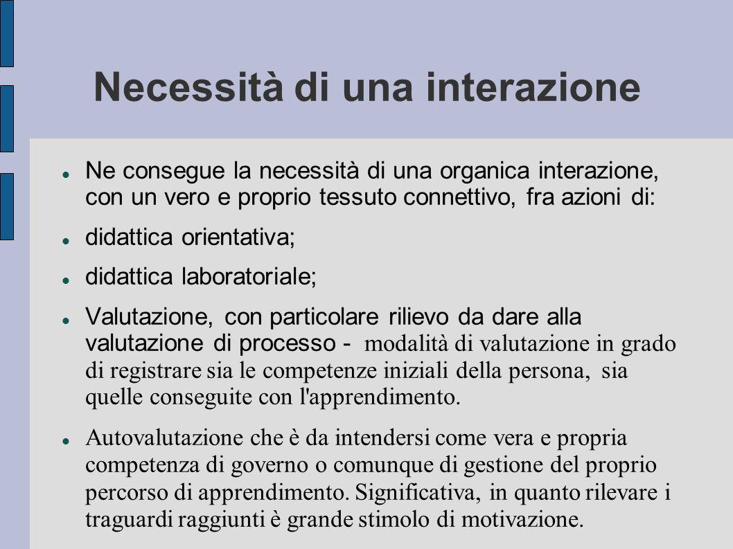 Necessità di una interazione Ne consegue la necessità di una organica interazione, con un vero e proprio tessuto connettivo, fra azioni di: didattica