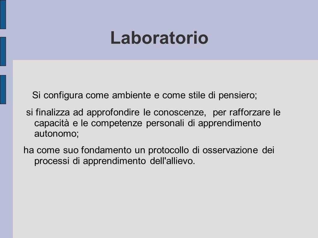 Laboratorio Si configura come ambiente e come stile di pensiero; si finalizza ad approfondire le conoscenze, per rafforzare le capacità e le competenz