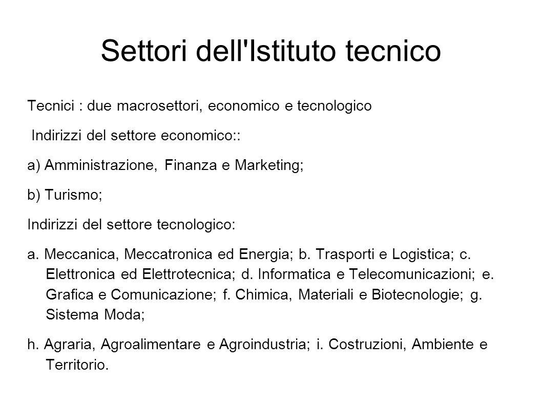 Settori dell Istituto tecnico Tecnici : due macrosettori, economico e tecnologico Indirizzi del settore economico:: a) Amministrazione, Finanza e Marketing; b) Turismo; Indirizzi del settore tecnologico: a.