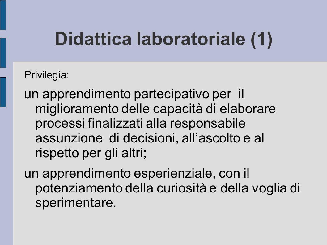 Didattica laboratoriale (1) Privilegia: un apprendimento partecipativo per il miglioramento delle capacità di elaborare processi finalizzati alla resp