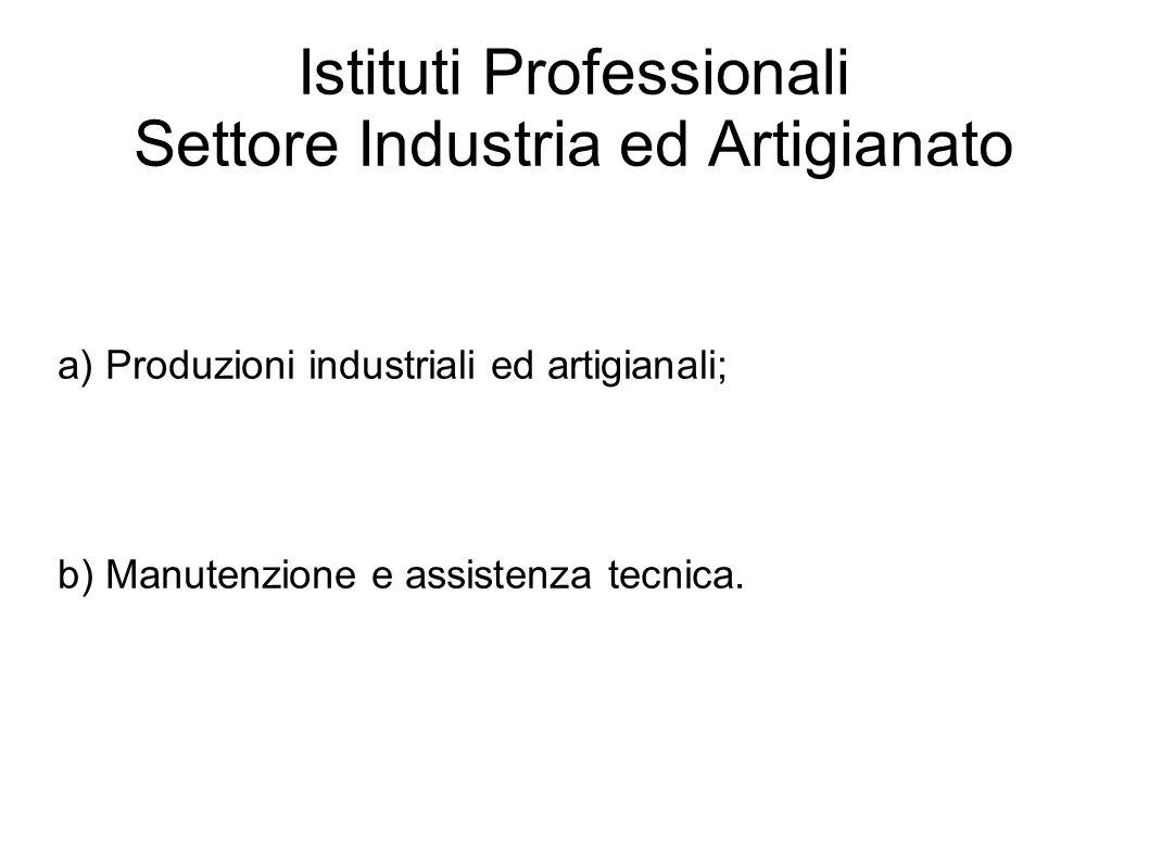 Istituti Professionali Settore Industria ed Artigianato a) Produzioni industriali ed artigianali; b) Manutenzione e assistenza tecnica.