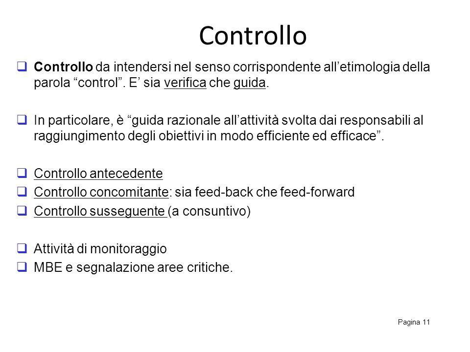 Controllo Pagina 11 Controllo da intendersi nel senso corrispondente alletimologia della parola control. E sia verifica che guida. In particolare, è g