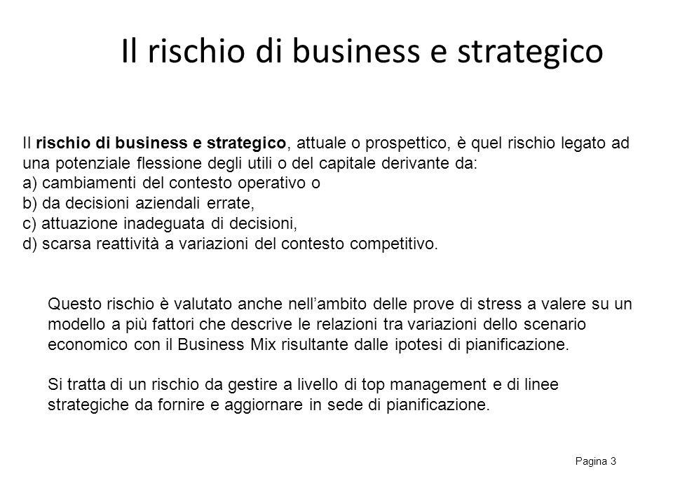 Il rischio di business e strategico Pagina 3 Il rischio di business e strategico, attuale o prospettico, è quel rischio legato ad una potenziale fless