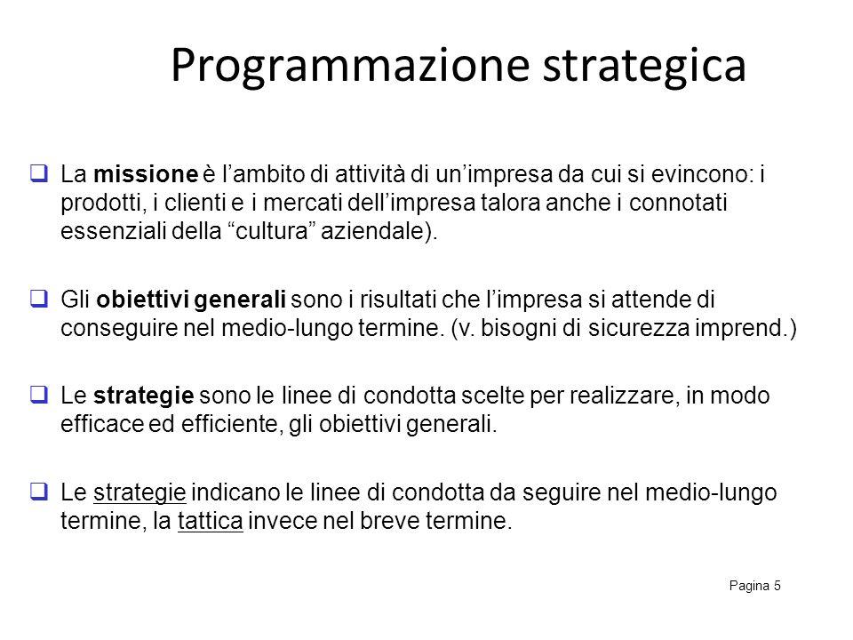 Programmazione strategica Pagina 5 La missione è lambito di attività di unimpresa da cui si evincono: i prodotti, i clienti e i mercati dellimpresa ta