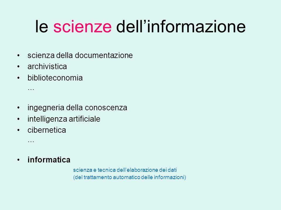 le scienze dellinformazione scienza della documentazione archivistica biblioteconomia...